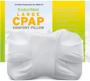EnduriMed CPAP Pillow - Memory Foam Contour Design Reduces Face Mask Pressure & Air Leaks - 2 Head Rests for Max Comfort