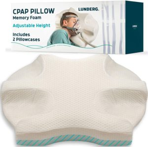 Lunderg CPAP Pillow for Side Sleepers - Includes 2 Pillowcases - Adjustable Memory Foam Pillow for Sleeping on Your Side, Back & Stomach - Reduce Air Leaks & Mask Pressure for a Better Sleep