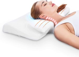 MARNUR Cervical Memory Foam Pillow Orthopedic Contour Pillows for Neck Pain Ergonomic Pillow with RoHS Certification and Pillowcase Covers